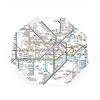 Qialia Detailed Map Of London Underground Compact Travel Umbrella Windproof Umbrella Anti-UV Golf Umbrellas
