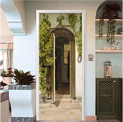 lebende Wasserdichte Tür Aufkleber 3D Bogen Virginia Creeper Tapete Wohnzimmer Schlafzimmer Pastoralen Tür Aufkleber Wandbilder ()