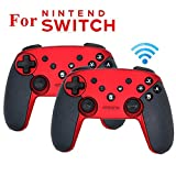 FidgetGear Wireless Bluetooth Gamepad Game Joystick Controller with Somatosensory Vibration Screenshot Axis for Nintend Switch red 2pcs
