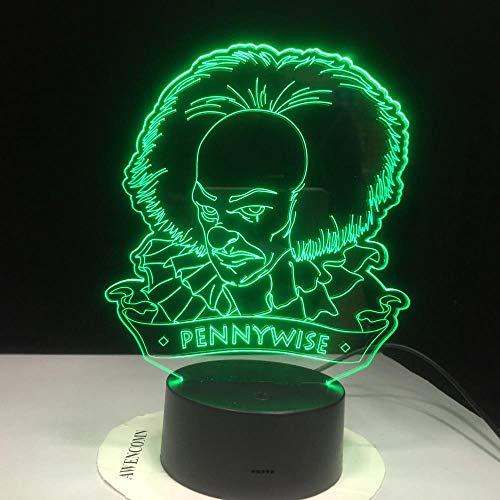 CYJQT 3D Nachtlicht Für Kinder Pennywise Figur Led Büroraum Dekoration Usb Batteriebetriebene Halloween Horror Tischlampe Film Sein Erstes Kapitel
