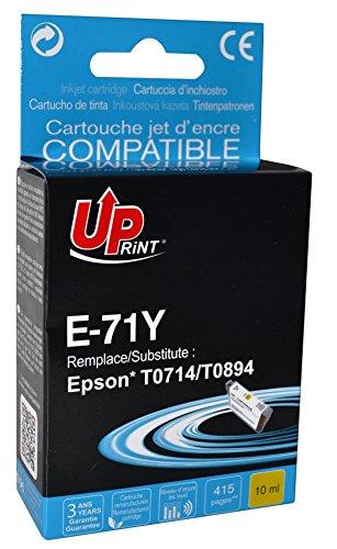 Cartouche compatible EPSON T0714/ T0894 - Jaune - marque : UPrint E-71Y - Imprimantes : STYLUS D120 / STYLUS D78 / STYLUS D92 / STYLUS DX4000 / STYLUS DX4050 / STYLUS DX4400 / STYLUS DX4450 / STYLUS DX5000 / STYLUS DX5050 / STYLUS DX6000 / STYLUS DX6050 / STYLUS DX7000F / STYLUS DX7400 / STYLUS DX7450 / STYLUS DX8400 / STYLUS DX8450 / STYLUS