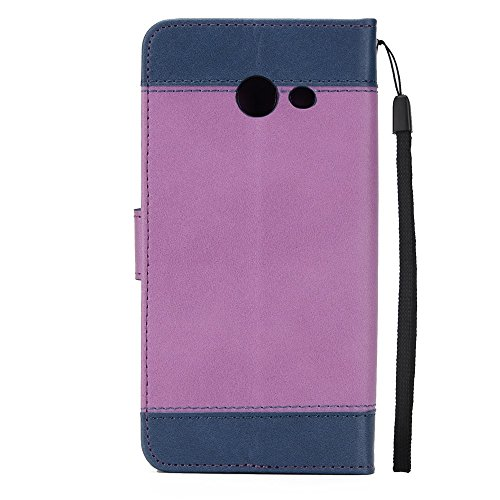 EKINHUI Case Cover Dual Color Matching Premium PU Leder Flip Stand Case Cover mit Card Cash Slots und Lanyard für Samsung Galaxy J7 2017 ( Color : Brown ) Purple