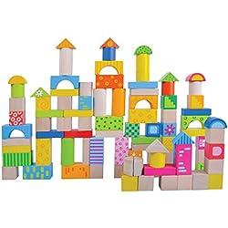 Juguete de madera de los niños que apilan y bloques huecos Bloques coloreados 100 PC de jumini ®