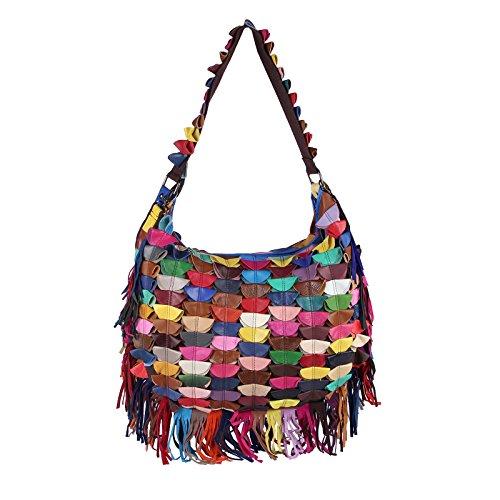 OBC ital-design Damen Leder Tasche Multicolor Schultertasche Shopper Henkeltasche Bunt Hobobag Mehrfarbig (V1 45x30x10 cm) V1 45x30x10 cm