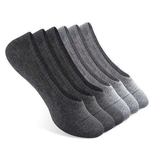 Paar Low Cut Sock (Vkele 6er Pack Füßlinge Sommersocken unsichtbare rutschfeste Sneakersocken| Größe: 35 36 37 38| 97% Baumwolle | Hellgrau Dunkelgrau| 6 Paar)