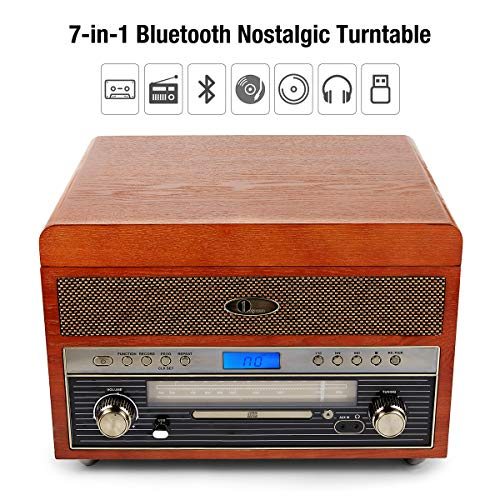 1byone Nostalgic Wooden Turntable Vinyl Record Player with AM/FM, CD,USB for MP3,Vinyl-to-MP3 Recording,AUX Input for Smartphones & Tablets and RCA Output