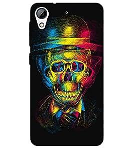 Chiraiyaa Designer Printed Premium Back Cover Case for HTC Desire 626 (colorful skull skeleton hat) (Multicolor)