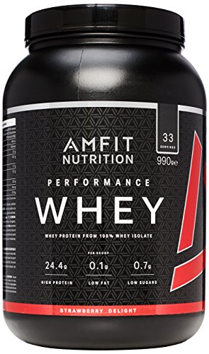 Amazon Brand - AMFIT NUTRITION Protein Drink Mix, Strawberry Delight, 990 g