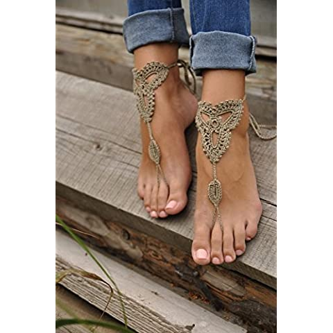 tqwy 1par (2pc) Ornate Barefoot hecho a mano punto de ganchillo Sandalias Playa Boda Novia Chic Mujeres Novia punto de playa cadena de pie
