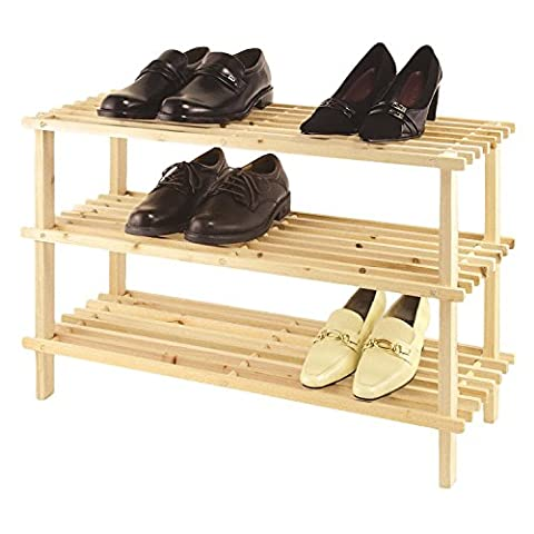 Oramics - Étagère à Chaussures en Bois Véritable & Solide - Étagère de Rangement - 3 Niveaux (montage sans vis)