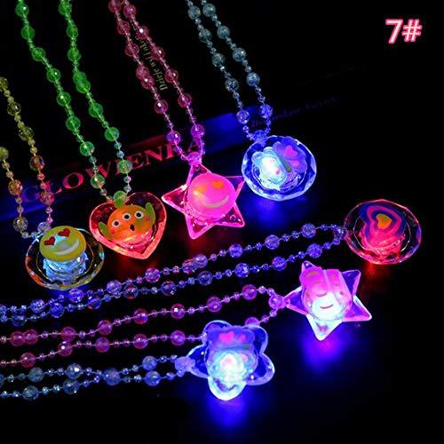 fish Cartoon LED Blinkende Halskette Anhänger Brosche Armband Kinder Leuchten Schmuck Geschenk Spielzeug Weihnachten Halloween Glow Party Supplies, 7
