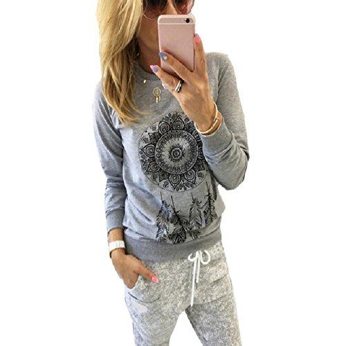 OverDose Damen Beiläufigen langen Hülsen-Feder-Drucken-T-Shirt Bluse Tops (S, Grau)