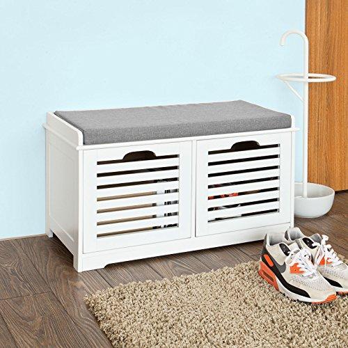 SoBuy® moderne Schuhtruhe,Sitzkommode mit 2 Körben,Sitzbank, Schuhschrank mit Sitzkissen,Spieltruhe, FSR23-K-W