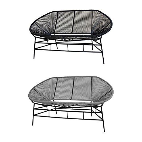 Charles Bentley Garden – Lounge-Bank im Retro-Stil – Gartenmöbel aus Polyrattan