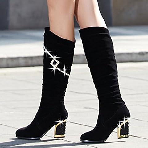 San 2016 primavera y el oto?o afluencia de zapatos de mujer de Europa y Am¨¦rica del ante de los cargadores femeninos bota de espesor con botas de tac¨®n alto botas individuales Gaotong , black , 38
