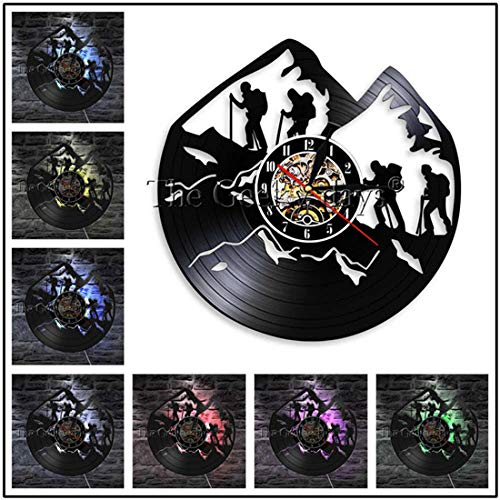 AIYOUBU Vintage Vinyl Record Reloj de Pared Diseño Moderno Cuerda de montaña Riesgo Escalada 3D Relojes Relojes de Pared Decoración para el hogar Regalos para escaladores @ Tipo 2-7 Color Led