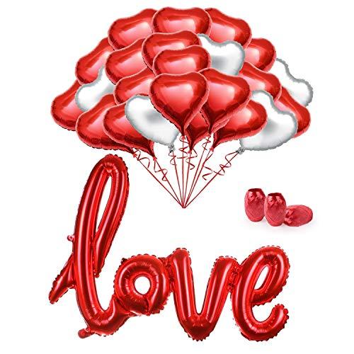 MMTX 34 Stück Folienballon Helium Herz Luftballons Set 18 Zoll Luftballons für Valentinstag, Hochzeit Brautdusche, Muttertag,Geburtstag und Baby-Dusche Dekoration,Muttertag. (Mit Band)