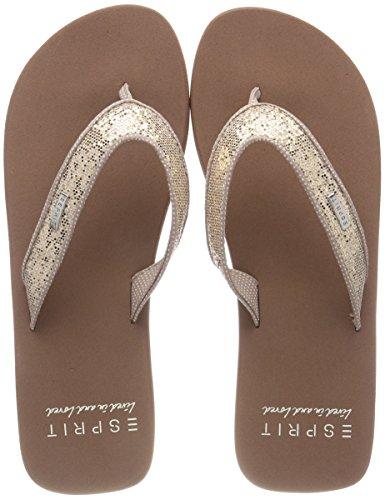 ESPRIT Damen Glitter Thongs Pantoletten, Cream Beige, 40 EU