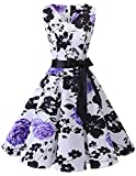 bridesmay 1950er Vintage Rockabilly V-Ausschnitt Kleid Retro Cocktailkleid Schwingen Kleid FaltenrockWhite Purple Flower XL