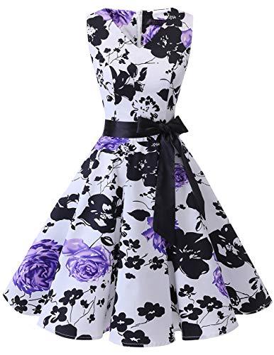 bridesmay 1950er V-Ausschnitt Kleid Vintage Cocktailkleid Rockabilly Retro Schwingen Kleid FaltenrockWhite Purple Flower XL