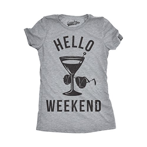 Crazy Dog Tshirts Womens Hello Weekend Funny T Shirts Drinking Tees Hilarious Shirts Novelty T Shirt (Light Grey) -XL - Damen - XL (T-shirt Tee Adult Funny)