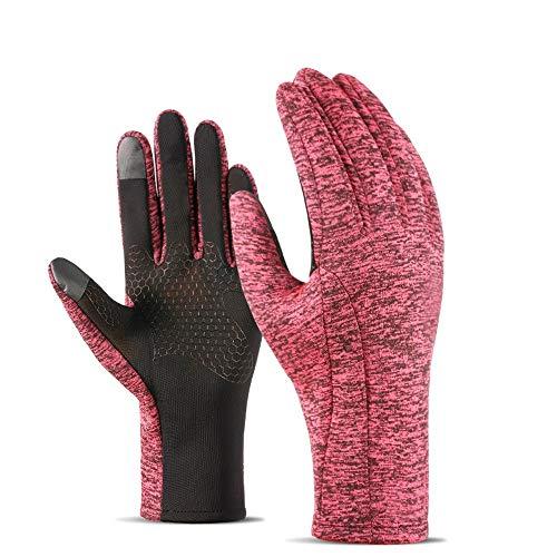 HOSTWEK Handschuhe for Männer und Frauen im Winter im Freien Fahrrad-Touch Screen warme Handschuhe Plus Samt Elektro-Motorrad-Handschuhe (Farbe : Pink, Größe : M)