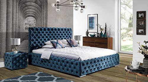 Design Luxus Lounge Polsterbett Doppelbett Futon-Bett Satin Blau Grün SL35 NEU!