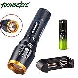 LCLrute flashlight LCLrute LED Taschenlampe Wiederaufladbare Taschenlampe durch Aluminium Wasserdicht LED Taschenlampe Tactical licht T6 5 Modi Zoomable + 18650 Batterie (D)