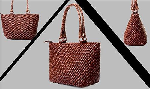 DJB/Leder Damen Tasche handgeflochtenem Rattan Ring tragbar Tasche Kaffeebraun