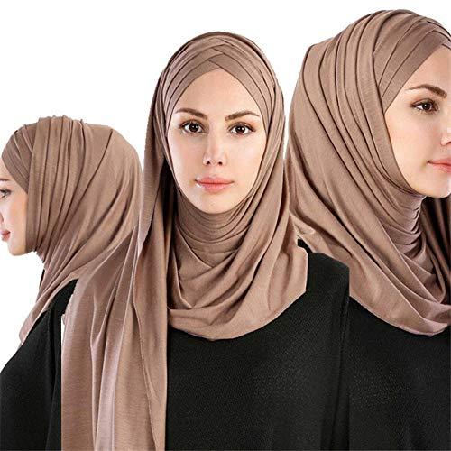 DSHRTY Écharpe Echarpe Modest Ramadan pour Femmes Jersey léger et instantané Hijab Long Echarpe Facile Prêt à Porter, Camel Écharpe