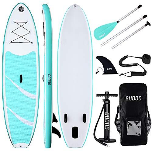 Triclicks SUP Aufblasbares Stand Up Paddling Board Paddle Board Surfboard mit Verstellbares Paddel, Handpumpe mit Druckmesser, Leash, Finner, Rucksack, 300 x 83 x 15cm