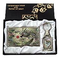 Mère de perle motif dragon Porte-clés Support cartes crédit Nom Porte Carte d'identité Slim Argent cas de