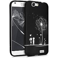 kwmobile Funda para Huawei Ascend G7 - Case para móvil en TPU silicona - Cover trasero Diseño Amor y diente de león en blanco negro