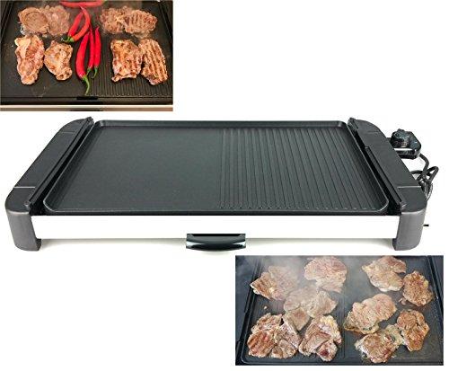 KOREAN elektr. Grillplatte Barbecue-Elektrogrill 1800Watt/ XXL Grillfläche 32 x 48 cm - !!!aus Guss-Eisen!!! rostfrei - dadurch optimale Hitzeverteilung/ kombinierte Grillfläche - gerippt und glatt (Korean Tisch Barbecue-grill)