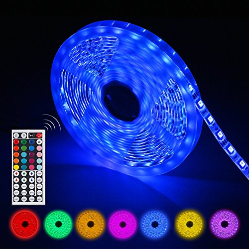 AGPTEK Tiras Led RGB 5 Metros 300 Leds 5050 SMD IP65 Impermeable con Control Remoto de 44 Teclas, Adaptador y Receptor, ideal para Barras, Decoración casera o para la Navidad