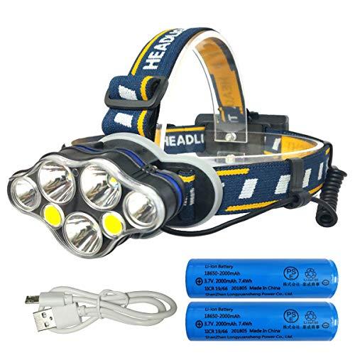 zhenwei Lampade da Testa LED, Ricaricabile USB 10000 Lumen Lampada Frontale, Luce Frontale Impermeabile 7 modalità - Perfetto per Correre, Campeggio, Corsa, speleologia, Pesca