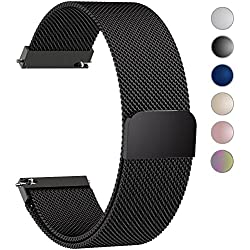 5 Colores para Correa de Reloj,FullmosaMilanese Correa Huawei Samsung Correa/Banda/Band/Pulsera/Strap de Recambio/Reemplazo 16mm 18mm 20mm 22mm 23mm 24mm, Negro 22mm