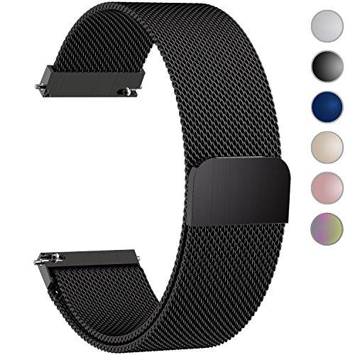 Fullmosa 6 Farben Für Milanese Uhrenarmband, Milanese Smart Watch Armand Ersatzband mit Edelstahl Magnet-Verschluss Watch Band Replacement für 18mm 20mm 22mm 24mm, Schwarz-20mm