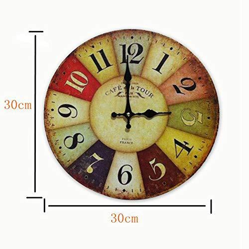 Orologio da Parete in Legno Vintage,30 cm Orologio Numerico Grande in Legno Retro,Silenzioso No Tick Tack Rumore Orologio da Parete per Cucina,Soggiorno Decorazione - 2
