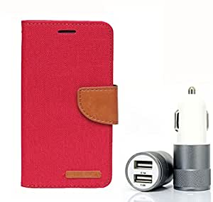 Aart Fancy Wallet Dairy Jeans Flip Case Cover for Blackberry9300 (Red) + Dual USB Port Car Charger with Smartest & Fastest Technology by Aart Store.