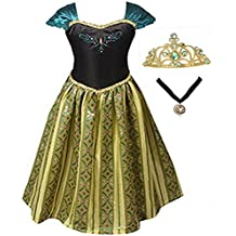 GenialES® Disfraz Vestido con Collar de Coronación Medallón y Tiara Diadema Verde Dorada Princesa Regalo Cumpleaños Disfraz de Carnaval Fiesta Cosplay Halloween para Niñas