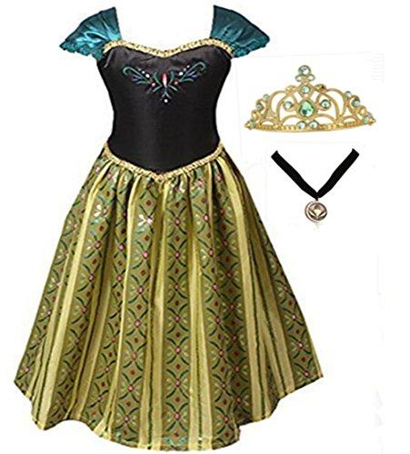 GenialES Costume Vestito Principessa Collana di Incoronazione Medaglione e Tiara Diadem Golden Verde Costume Cosplay Carnevale Festa Compleanno Halloween Ragazze 2-7 anni