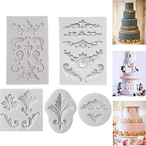 Relief Barock Vintage Silikon Fondantform Spitze Blume Grenze Kuchen Dekorieren Cupcake Dekoration Zuckerguss Paste Schokolade Backform Sugarcraft DIY