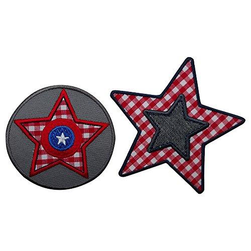2-patches-set-etoile-grise-karo-rouge-9x9-cm-patch-patch-tissu-patch-decoration-patches-fer-sur-sacs