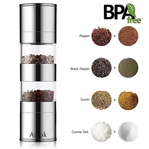 Salz und Pfeffermühle, Aicok Gewürzmühle mit Mahlwerk aus Keramik, einstellbarer Feinheit und langes Frischhalten Design, Silber