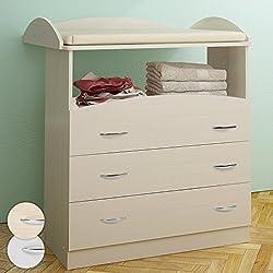 Infantastic - Cambiador para bebés espacioso con 3 cajones (la parte alta en 2 niveles) en color haya