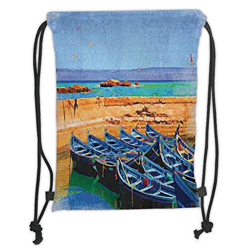 OQUYCZ Drawstring Sack Backpacks Bags,Country Decor,Sea Scenery with Gulls and Traditional Fishing Boats on The Shore in The Village Island,Cream Blue Soft Satin,5 Liter Capacity,Adjustable St