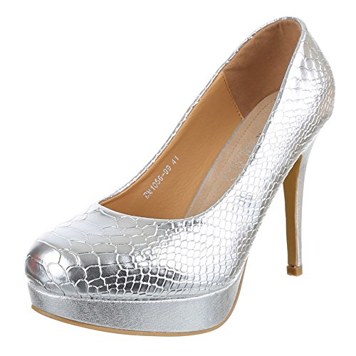 Ital-Design - Scarpe con Tacco Donna Argento (argento)