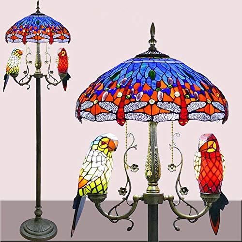 Libelle Tiffany-Stil Stehlampe,Buntglas Stehleuchte mit Papagei Nachtlicht,Vintage Decor Standleuchte Leseleuchte für Wohnzimmer, Schlafzimmer, Büro(18 Zoll Lampenschirm),Blue