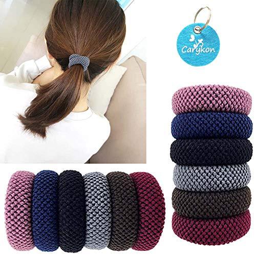Carykon Haargummi für Mädchen, nahtlos, elastisch, verschiedene Farben, 12 Stück (Kaffee-geschenk-pack)